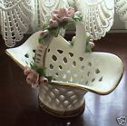 Vintage Alka Bavaria Porcelain Rose Handled Basket