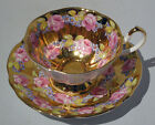 Vint QUEEN ANNE BONE CHINA PINK ROSE GARLAND Cup & Saucer Heavy GOLD GILDING