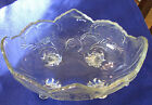 DEPRESSION GLASS FOOTED FRUIT BOWL - OVAL WITH 4 FEET - UNKNOWN PATTERN