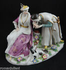 Antique Capodimonte Porcelain Figurine Stylish Courting Couple Bench Scene