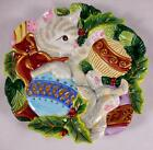 FITZ & FLOYD ESSENTIALS KRISTMAS KITTY CHRISTMAS CAT PLATE 9 INCHES - MINT