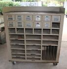 1960's / 1970's Library Card Catalog Metal Large Cabinet on Wheels