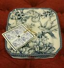 222 FIFTH Adelaide Blue Appetizer Dessert Plates Set Of 4 - NWT