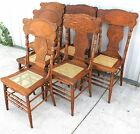 1900 10 EXTREMELY RARE 6 FULL BODY LION PRESSED BACK OAK DINING ROOM CHAIRS