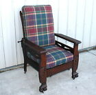 1900 10 QUARTERSAWN OAK LION HEAD & CLAW FEET MORRIS CHAIR
