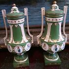 Vintage French Pair Of Porcelain Urns, Hand Painted Napoleon & Josephine