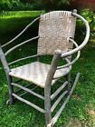 Original Old Hickory Chair Company rustic wicker grey wood hoop rocking chair