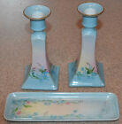 BEAUTIFUL ANTIQUE PORCELAIN LIMOGES CANDLESTICKS, & Matching Pin Tray B&C Co.