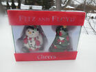 CHRISTMAS~SNOWMAN & CHRISTMAS TREE~SALT & PEPPER SHAKERS~FITZ & FLOYD~CHEERS~
