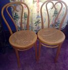 GORGEOUS PAIR Vintage ANTIQUE OAK BENT WOOD CANE SEAT CHAIRS  MADE in Romania