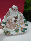 Fitz and Floyd Snowy Woods Santa Serving Canape Plate Christmas Retired orig. bo