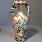 Antique German RUDOLSTADT Hand Painted FLORAL VASE Gold Gilded GERMANY Porcelain