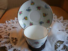 Crown Staffordshire Vintage White With  Floral Tea Cup & Saucer Gold Trim