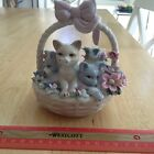 New- Beautiful Ceramic White Basket with Bow Cats Flowers Italy Blue Pink Gray