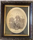 Antique Victorian Ebony Gesso Frame With 1870 Brothers And Sisters Photo