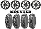 Kit 4 ITP Mega Mayhem Tires 27x9-14/27x11-14 on STI HD4 Gloss Black Wheels IRS