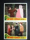 SHE-WOLF OF LONDON '46 JUNE LOCKHART THINKS SHE IS WOLF WOMAN TWO LOBBY CARDS