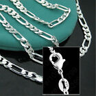 925 Sterling Silver Plated 16 30inch 2MM Chain Fashion Men Figaro Necklace Nice