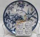 222 FIFTH ADELAIDE BLUE SET OF 4 ROUND APPETIZER PLATES TOILE BIRD BRAND NEW