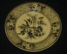 ANTIQUE YELLOW CANARY BLACK TRANSFER TRANSFERWARE LOVE BIRD PLATE DISH 400