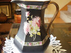 STUNNING Antique Shabby  Very Large  Pitcher w Hand Painted  Porcelain C 1890