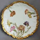 Antique T&V LIMOGES CABINET PLATE Hand Painted Flowers Gold TRESSEMANN & VOGT