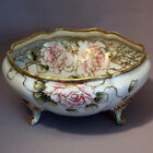 Antique NIPPON FOOTED BOWL Pink Flowers Roses Gold Blue Maple Leaf HAND PAINTED