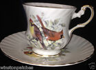 ROSINA QUEENS ENGLAND BIRDS OF AMERICA FOOTED CUP & SAUCER CARDINALS GOLD TRIM