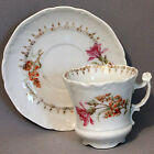 Antique C T TIELCH Germany Porcelain DEMITASSE CUP & SAUCER Flowers Chocolate