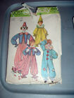 Vintage Halloween Costume Pattern Clown in 3 Styles Adult Large Cut Complete