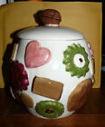 Vintage 1950's Cookies All Over Los Angeles Potteries Cookie Jar with Walnut Lid