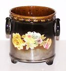 LOVELY CZECHOSLOVAKIA POTTERY VASE WITH ROSES AND RING HANDLES MISSPELLING