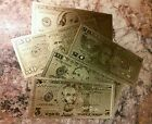 Set of 5~Genuine 24K Gold Foiled Replica US Bank Notes~$5, $10, $20, $50, $100