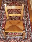 VINTAGE CHILD'S WOOD OAK ROCKING CHAIR WITH RUSH SEAT ~ SOLID AS A ROCK