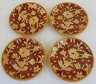 Fitz & Floyd 4 Plates DEL VINO FLOWERS Party Snack Appetizer Embossed Autumn