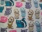 Kitty Breeds Snuggle Cotton Flannel Fabric BTY Colorful Cats and Kittens