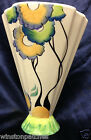 PAST TIMES ENGLAND ART DECO FAN SHAPED VASE HANDPAINTED MUTICOLORED FLOWER POSEY