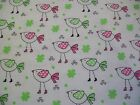 Pink and Green Birdie Snuggle Cotton Flannel Fabric BTY