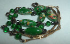 VINTAGE GREEN FLORAL JAPANESE GLASS BEAD NECKLACE