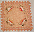 VINTAGE CHRISTMAS CANDLES EMBROIDERY LACE FRAME PINK CHIFFON 33 TABLECLOTH