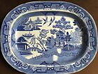 Rare Antique Staffordshire Blue Willow Meat Platter/Near Perfect Condition