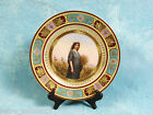 Royal Vienna Hand Painted Portrait Porcelain Signed Cabinet Plate w/Raised Gilt