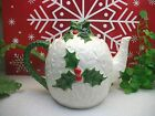 RARE Vintage Lefton China Christmas Holiday WHITE HOLLY Ceramic Teapot EXCELLENT