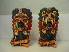 Vintage Mexican Carved Aztec Mayan Warrior Sitting Shotglasses Set of 2 Neat