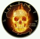 USA 1 American Eagle BURNING SKULL 1 oz Silver coin 2015 Black Ruthenium