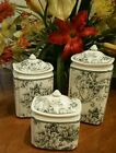 222 FIFTH Adelaide Gray 3 Pc Canister Set - New!
