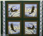 SOARING HIGH EAGLE FABRIC panel 4 PILLOW PANELS BALD EAGLE FABRIC BTP NEW