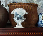 Vintage French Faience tin glazed pottery vase hand painted blue white Quinson