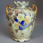 Vintage Antique NIPPON VASE Flowers Blue Yellow DOUBLE HANDLED GOLD Green M