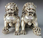 Rare Chinese Silver Bronze Fu Foo Dog Guardian lion Statue Pair